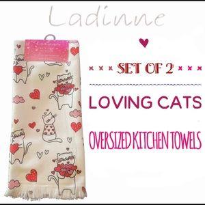 NEW Set of 2 LADINNE Loving Cats Kitchen Towels